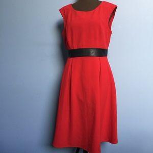 Calvin Klein Faux Leather Sash Sleeveless Dress